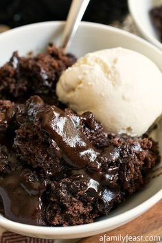 Hot Fudge Pudding Cake (sugar, flour, cocoa, baking powder, salt, milk, butter, vanilla extract, brown sugar and vanilla ice cream)