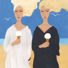 'Ice Cream Girls' By Painter Dee Nickerson. Blank Art Cards By Green Pebble. www.greenpebble.co.uk