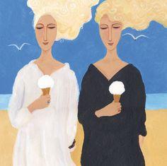'Ice Cream Girls' By Painter Dee Nickerson. Blank Art Cards By Green Pebble. www.greenpebble.co.uk