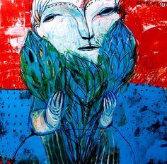 "Saatchi Art Artist Rusudan Khizanishvili ; Painting, ""Blue Flowers"" #art"