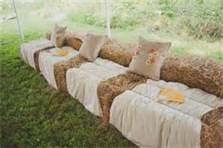 hay bales for wedding seating. Yes we are doing this :)
