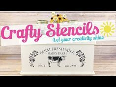 "This detailed, laser-cut, ""Farm Fresh Milk"" Craft Stencil can be used on virtually any surface to give you that ""Antique Farmhouse"" look. These smaller sized stencil makes them easier to use on furniture, lampshades, canvases and fabric. Stencil Diy, Stencil Designs, Stencils, Plastic Craft, Dry Brush Technique, Green Box, Fresh Milk, Antique Farmhouse, Paint Drying"