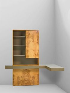 Vladimir Kagan; Olive Burl, Lacquered Wood and Glass Custom Cabinet, 1970s.