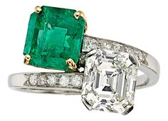 Diamond, Emerald, Platinum, Gold Ring, Cartier