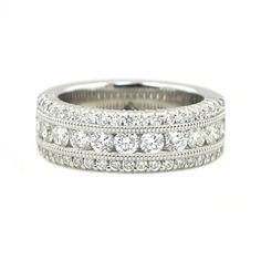 1.52 Carat Ben Garelick Royal Celebration 14kt White Gold Royal Crown Diamond Ring.