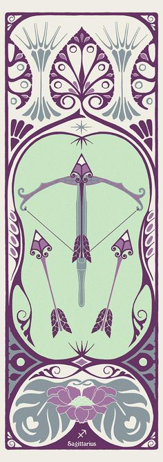 Sagittarius art nouveau Archer, Sagittarius Astrology, Art Nouveau Poster, Photoshop, Poster Series, Bow Design, My Zodiac Sign, Looks Vintage, Old Art