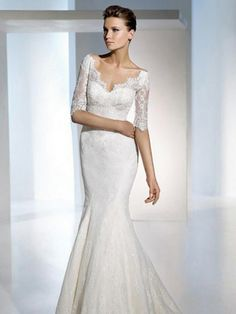 Trumpet/Mermaid V-neck White Embroidery Chiffon Sweep Train Wedding Dress at Millybridal.com