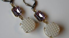 Alexandrite and White Textured Czech Button Drop Earring Snow Earrings Winter Glamour