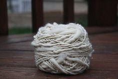 Natural White Overspun Handspun Wool Yarn $26 Kimberly Handspun Handwoven SHOP www.nywhitestonefarm.com #handmade #handspun #yarn #wool #knit #crochet #farm #gift #dyi #white #overspun