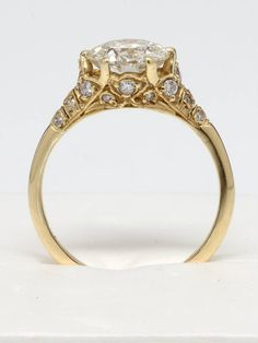 Edwardian Style Gold and Old European Cut Diamond Engagement Ring | From a unique collection of vintage engagement rings at https://www.1stdibs.com/jewelry/rings/engagement-rings/
