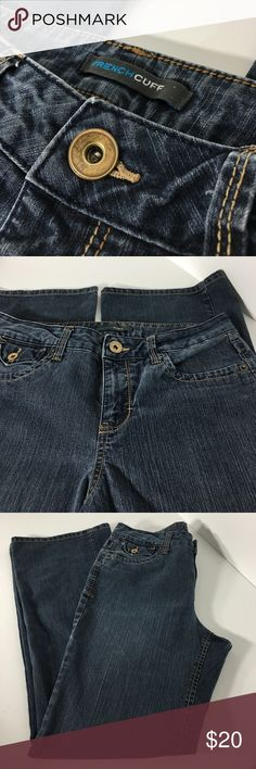 "French Cuff Jeans - Size 8 80% Cotton / 19% Polyester / 1% Spandex.  Made in Bangladesh.  Approx measurements (Flat): Waist 15 1/2"".  Length 41"".  Please ask questions before purchasing.  Fair Condition.  See pictures for more information.  Thank you for shopping by my closet.  Sparkles ✨ and Happy Poshing!  📌Only Fair Offers Considered French Cuff Jeans"