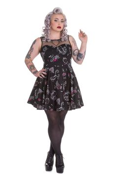Hell Bunny Plus Size Goth Rockabilly Perfume Skull Roses Bat Kalonice Mini Dress #HellBunny #MiniDress #Clubwear