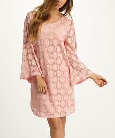 Love this Pink Crochet Bell-Sleeve Shift Dress by Pinkblush on #zulily! #zulilyfinds