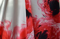 White Cotton With Lycra Red Floral Pattern Trousering