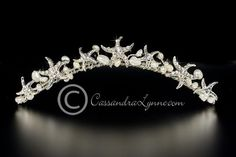 "Small tiara with crystals and pearls, this is the more ""modest"" option..."