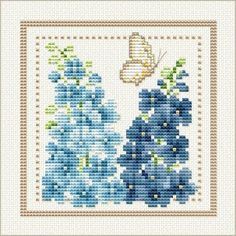 Good Life 2 Go: Free Cross Stitch Chart: Flower of the Month - July - Larkspur