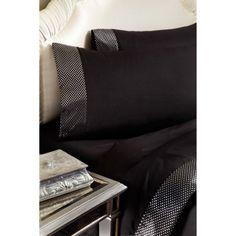 Divatex Home Fashions Metallic Printed Bling Bedding Sheet Set, Dots, Black