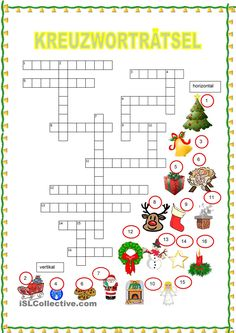 Crossword Puzzle - Christmas Source by reisernelli French Christmas, Christmas Diy, Xmas, Holiday, French Teaching Resources, Teaching French, Learn German, Learn French, Christmas Party Games