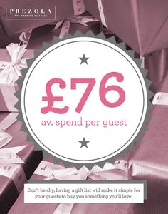 Did you know? It's common for guests to buy more than one gift and spend an average of £76 each on your wedding gift list | Prezola