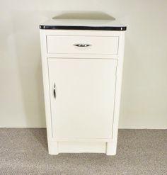 40s industrial metal cabinet white metal cabinet by gillardgurl, $175.00