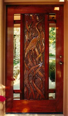 """""""Egret"""" by Fine Woodworks Custom Doors. These hand-carved rustic wood doors feature an egret and sawgrass. Made of Honduran Mahogany. Visit our website for additional photos and pricing. Exterior Sliding Barn Doors, Sliding Barn Door Hardware, Interior Barn Doors, Sliding Doors, Barn Door In House, Barn Doors For Sale, Barn Door Designs, Entrance Doors, Doorway"""