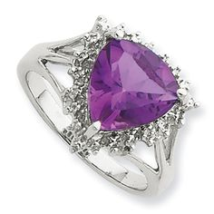 Sterling Silver Rhodium Trillion Amethyst & Diamond Ring Size 8