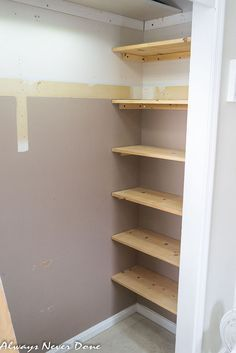Make the most out of small closet spaces by adding shelving into 'dead spaces' on the sides of the closet space. This would be great for storing handbags. Tip use tension rods instead.
