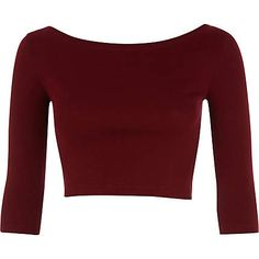 Dark red 3/4 sleeve crop top - crop t-shirts - t shirts / vests / sweats - women