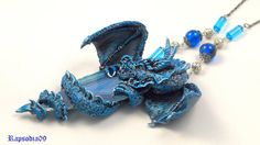Dragon necklace Blue dragon jewelry Gothic by Rapsodia09ArtWork