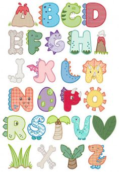 Designs by JuJu Exclusive 5 sizes: 2 inch, 3 inch, 4 inch, 5 inch and 6 inch Dinosaur themed applique alphabet! BX format is NOT available Alphabet Design, Cute Fonts Alphabet, Caligraphy Alphabet, Hand Lettering Alphabet, Alphabet Art, Spanish Alphabet, Embroidery Store, Embroidery Software, Embroidery Fonts