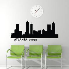 Atlanta Skyline Wall Decal Cityscape City Silhouette Removable Wall Art Decals Murals Home Decor for Living Room Bedroom Dorm Office C002