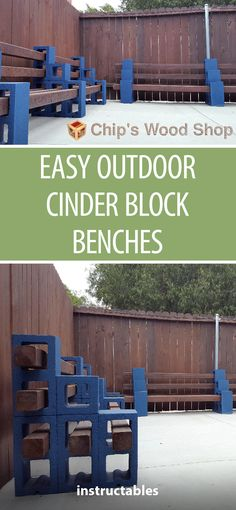 Easy Outdoor Cinder Block Benches - All About Used Woodworking Tools, Small Woodworking Projects, Woodworking Furniture, Woodworking Plans, Woodworking Classes, Wood Projects, Woodworking Logo, Woodworking Crafts, Woodworking Store
