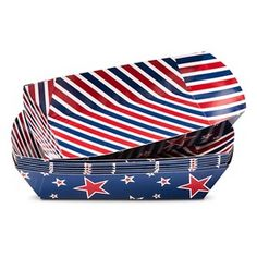4th of July Red, White, and Blue Striped Hot Dog Boats - 8 ct