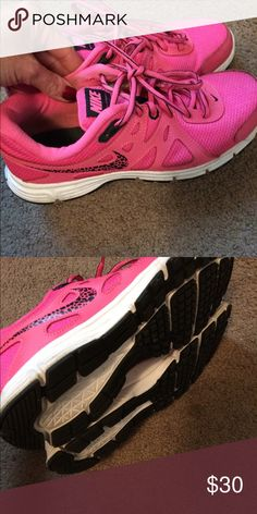 Pink and Black Nikes Only worn a few times inside of a gym Nike Shoes Sneakers