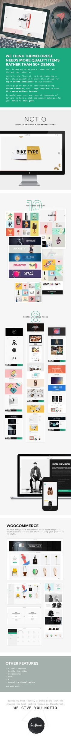 A Visually Stunning, Ecommerce, Portfolio WordPress Theme    High Five We believe that Notio is the highest quality Portfolio WordPress theme in today?s busy market. With Notio, we have focussed th...