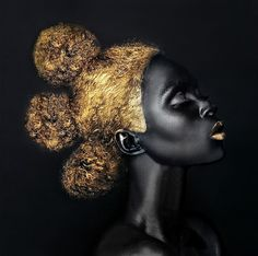"Lina Iris Viktor applies strong designs to her portrait imagery—both painted and photographic. She say she ""chooses to work in a strictly limited worl. Black Girl Art, Black Women Art, Black Girl Magic, Black Art, Art Girl, Black Gold, Color Black, African Girl, African American Art"