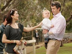Crown Prince Frederik & pregnant Crown Princess Mary Of Denmark pose with their son Crown Prince Christian of Denmark at Bonorong Park…