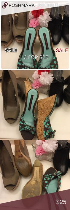"""Bundle of 3 pairs All three pairs in excellent preowned condition.  1 Pair Chinese Laundry Wedge with cloth Fabric.  Heel:4""""  Size:7.5                                                         1 New pair of Dana Buchman, Heel: 4""""  size:7.5                1 pair of  Wedge, Size:7.5 Heel:5.1"""" Shoes Heels"""