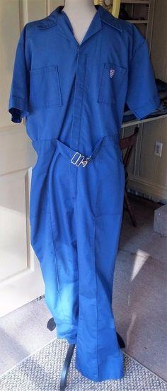ba86bcec80 VTG Men s Coveralls Jumpsuit One Pc~Size 44 Tall Long~Med. Blue Work~Mechanic
