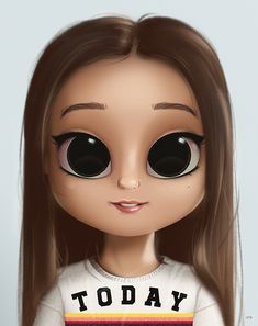 Cartoon, Portrait, Digital Art, Digital Drawing, Digital Painting, Character Design, Drawing, Big Eyes, Cute, Illustration, Art, Girl, Doll, Hair, Today, Straight Hair