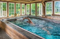 Enter for a chance to win an endless pool. The Performance Endless Pool gives you all the pleasure of a traditional pool, with a few bonuses. Luxury Swimming Pools, Luxury Pools, Indoor Swimming Pools, Dream Pools, Lap Pools, Pool Spa, My Pool, Swimming Pool Pictures, Swimming Pool Designs