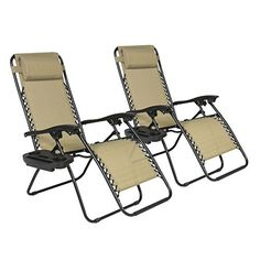 Zero Gravity Chairs Case Of 2 Tan Lounge Patio Chairs Outdoor Yard Beach New >>> You can get more details by clicking on the image.