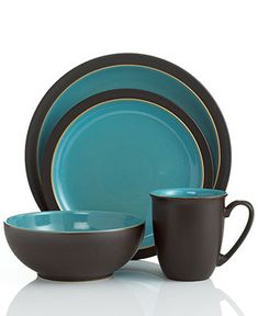 Denby Dinnerware, Duets Brown and Turquoise 4 Piece Place Setting - Casual Dinnerware - Dining & Entertaining - Macy's