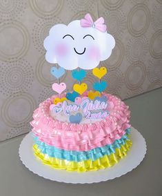 Topo de bolo Baby Girl Birthday Decorations, Baby Birthday Cakes, Rainbow Birthday Party, Baby Shower Decorations, Birthday Party Themes, Baby Shower Prizes, Baby Shower Cakes, Cloud Party, Mom Cake