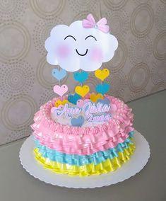 Topo de bolo Baby Girl Birthday Decorations, Baby Birthday Cakes, Rainbow Birthday Party, Baby Shower Decorations, Birthday Party Themes, Baby Shower Prizes, Baby Shower Cakes, Cloud Party, Mom Cake