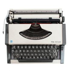 Vintage Manual Typewriter light grey from Europe 70s. Its in good working condition and has gray color and black QWERTZ keyboard. Types nicely in black and red. This ashen travel typewriter is small an very usefull on journey. Has grey cover. Its very cute. This type was created 69 by