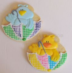 baby shower cookies: ducklings and bluebirds