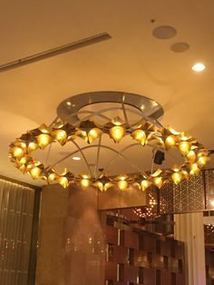 Gold plated metal chandelier at crown casino pic 7