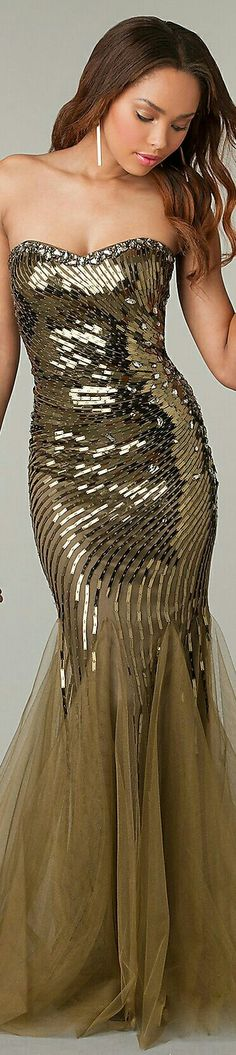 Olive Green Sequined Prom/Evening Mermaid-Style Dress x DiscountDressShop.com