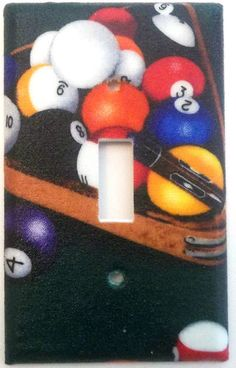 Pool Balls Billiards games bedroom bathroom by ChrisCraftiedecor Switch Plate Covers, Light Switch Plates, Light Switch Covers, Game Room Lighting, Billiards Game, Bathroom Wall Decor, Bedroom Wall, Wall Decor Lights, Pool Cues